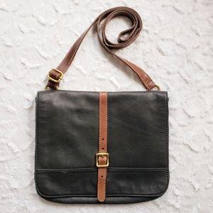 Fossil Unisex Leather Messenger Crossbody Bag